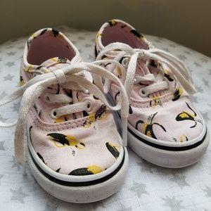 Pink Banana Print Vans Toddler Sneakers Size 5